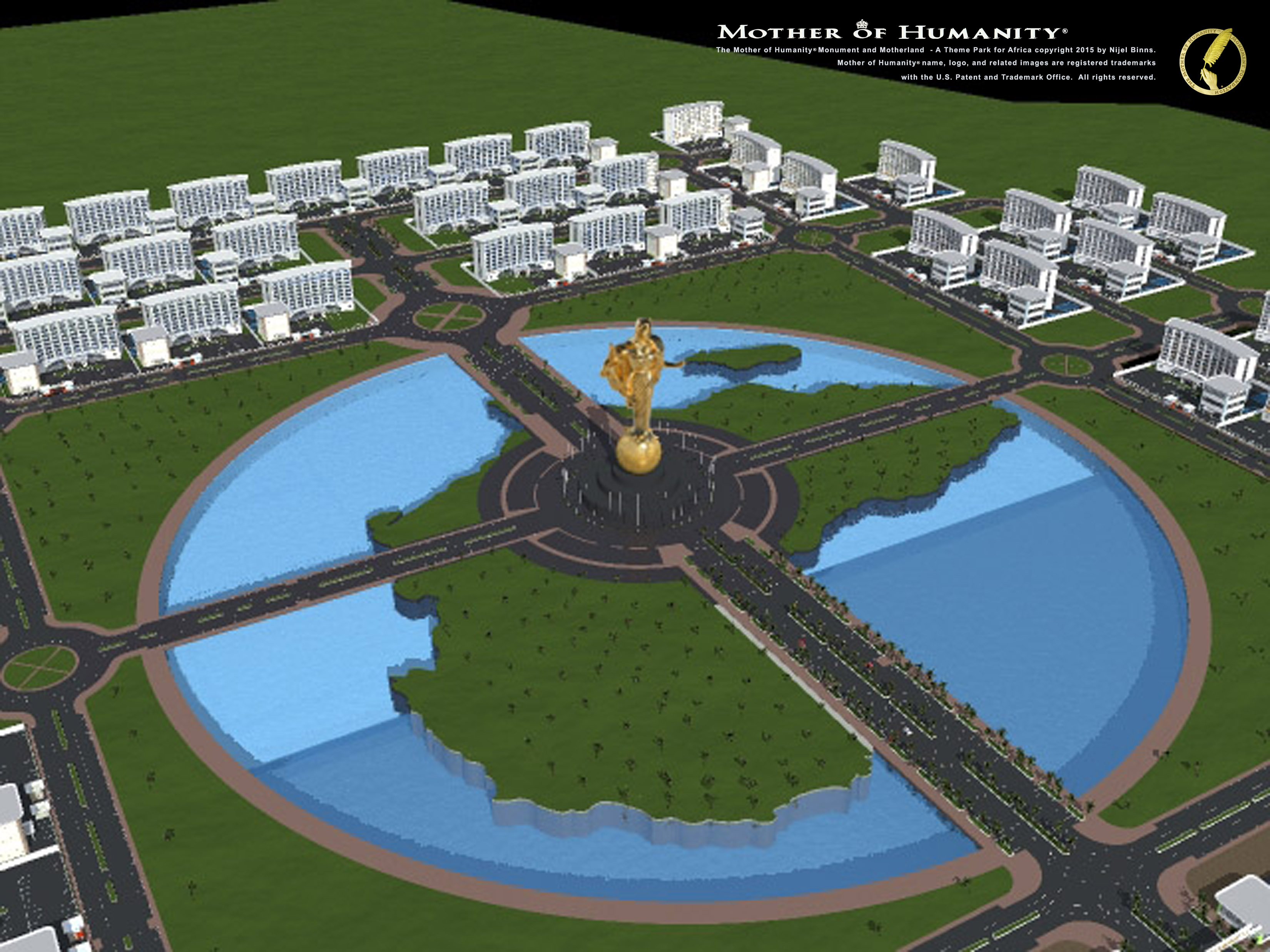 Project renderings for the Mother of Humanity® Monument at the MotherLand™ themed park.